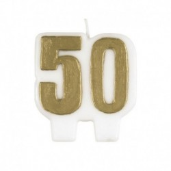 Candela Numero 50 Oro 5,5 cm