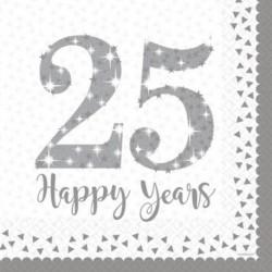 16 Tovaglioli Carta 25° Anniversary 33x33 cm