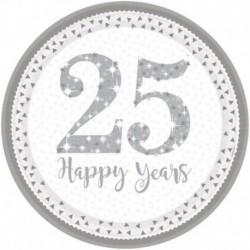 8 Piatti Tondi Carta 25° Anniversario 23 cm