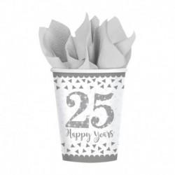 8 Bicchieri Carta 25°Anniversario 266 ml