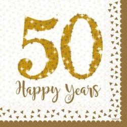 16 Tovaglioli Carta 50° Anniversario 33x33 cm