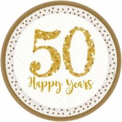 8 Piatti Carta 50° Anniversario 23 cm