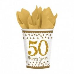 8 Bicchieri Carta 50°Anniversario 266 ml
