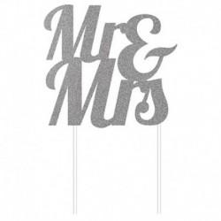 Deco Torta Mr & Mrs Argento Glitterato 24 cm