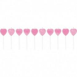 10 Candele Pick Cuori Rosa 7 cm