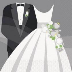 16 Tovaglioli Carta Wedding 33x33 cm