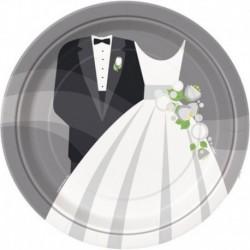 8 Piatti Tondi Carta Wedding 23 cm