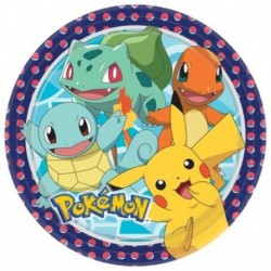 8 Piatti Tondi Carta Pokemon 23 cm