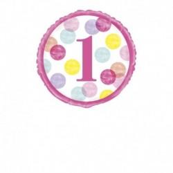Pallone 1°Compleanno Pois Rosa 45 cm