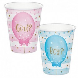 8 Bicchieri Carta Gender Reveal 266 ml