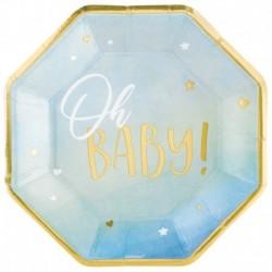 8 Piatti Tondi Carta Oh Baby Boy 27 cm