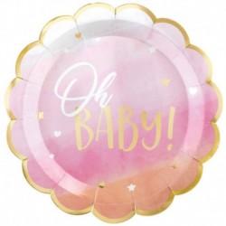 8 Piatti Sagomato Oh Baby Girl 27 cm