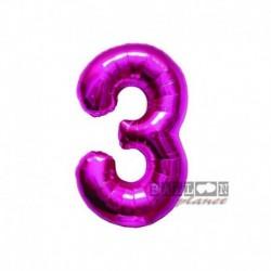 Pallone Numero 3 Fucsia 40 cm