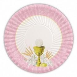 10 Piatti Carta Comunione Rosa 18 cm