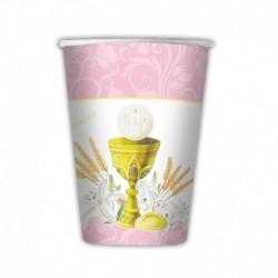 10 Bicchieri Carta Rosa Comunione 200 ml