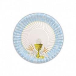 10 Piatti Carta Comunione Azzurri 18 cm