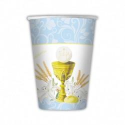 10 Bicchieri Carta Azzurri Comunione 200 ml