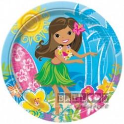 8 Piatti Tondi Carta Hawaii 22 cm