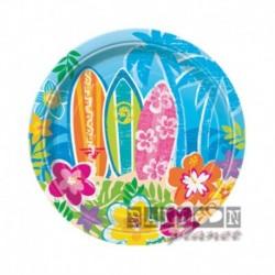 8 Piatti Tondi Carta Hawaii 17 cm