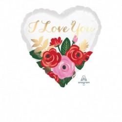 Pallone Cuore Rose Bouquet 45 cm