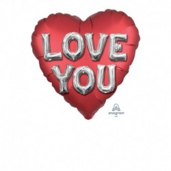 Pallone Cuore I Love You Letters 45 cm