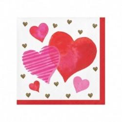 16 Tovaglioli Carta Hearts 25x25 cm