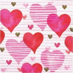 16 Tovaglioli Carta Hearts 33x33 cm