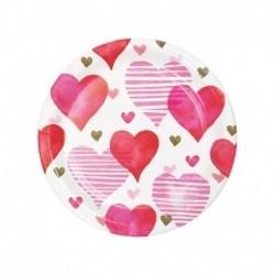 8 Piatti Tondi Carta Hearts 18 cm