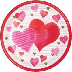 8 Piatti Tondi Carta Hearts 23 cm