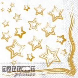 20 Tovaglioli Carta Stelle Oro 33x33 cm