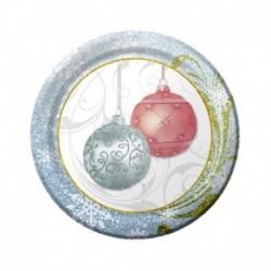 8 Piatti Tondi Carta Natale 18 cm