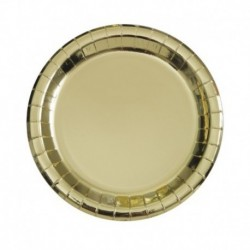 8 Piatti Tondi Carta Oro Metal 18 cm