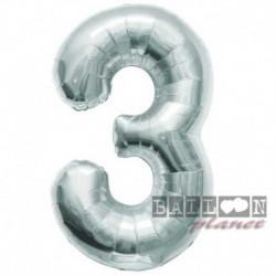 Pallone Numero 3 Argento 90 cm
