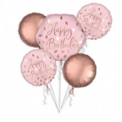 5 Palloni Bouquet Rose Gold Birthday