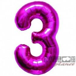 Pallone Numero 3 Fucsia 90 cm