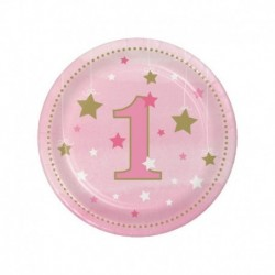 8 Piatti Tondi Carta 1°Compleanno 18 cm