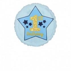 Pallone 1st Birthday Blue & Gold 45 cm