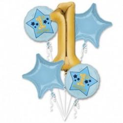 Bouquet 5 Palloni 1st Birthday Blue & Gold