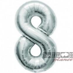 Pallone Numero 8 Argento 90 cm