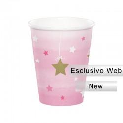 8 Bicchieri Carta Rosa 1° Compleanno Brilla la Stellina 266 ml