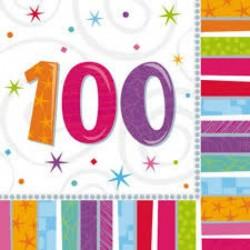 16 Tovaglioli Carta 100 Anni 33x33 cm
