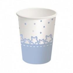 8 Bicchiere Carta Baby Stelle Azzurro 250 ml