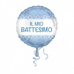 Pallone Battesimo Stelle Azzurro 45 cm