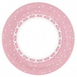 8 Piatti Baby Cuori Rosa 23 cm