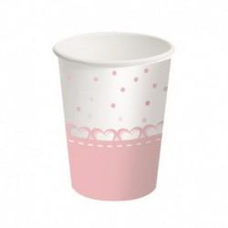 8 Bicchieri Carta Baby Cuori Rosa 250 ml