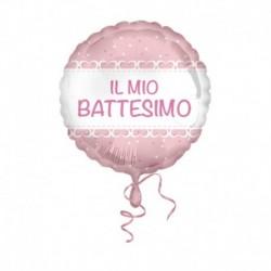 Pallone Battesimo Cuori Rosa 45 cm