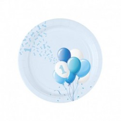 8 Piatti Tondi Carta 1° Compleanno Palloncini 18 cm
