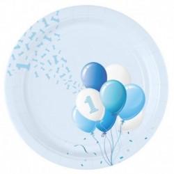 8 Piatti Tondi Carta 1° Compleanno Palloncini 23 cm