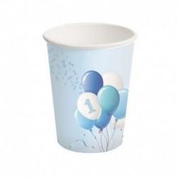 8 Bicchieri Carta 1° Compleanno Palloncini 250 ml