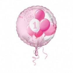 Pallone 1° Compleanno Rosa 45 cm